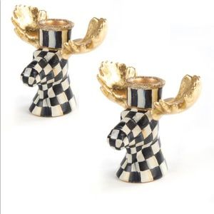 MacKenzie Childs Courtly Check Moose Candlesticks